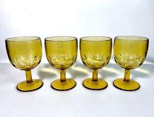 Bartlett Collins Water Goblet Stemware Amber Yellow Thumbprint Dot Schooner Beer
