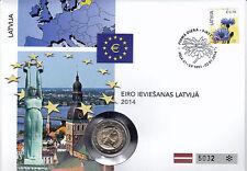 Lettonia 2014 NUMISBRIEF 2 euro Introduzione dell'Euro