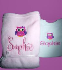 Personalised Baby Blanket and Bib Gift Set  Baby Shower Owl Any Name Embroidered