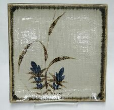 "Stoneware Pottery 9.5"" Square Plate Textured Brown with Blue Flowers Grass Asian"