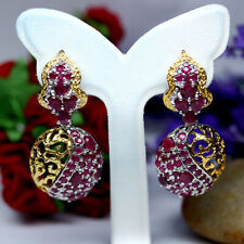 NATURAL HEATED RED BURMA RUBY EARRINGS 925 STERLING SILVER