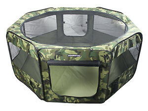 "45"" Portable Puppy Pet Dog Soft Tent Playpen Folding Crate Pen New - Camoflauge"