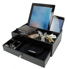 Mens Charging Valet Key Tray Night Stand Jewerly Watch Box Organizer for Men as