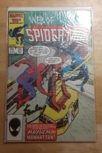 1986 Marvel Web of Spider-Man #21 Mayhem Over Manhattan W/ Stan Lee AUTOGRAPH.