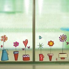 Vinyl Wall Decals, Potted Flowers, Floral Window Stickers, Home Decor