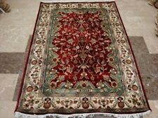 Awesome Red Ivory Floral Flowers Hand Knotted Rug Wool Silk Carpet (6 x 4)'