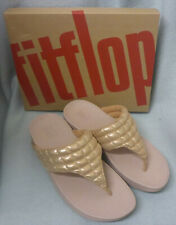 New Fitflop Lulu Padded Shimmy Suede Rose Gold Toe Post Ladies Sandals Box Sz 5