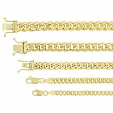 """14k Oro Amarillo 3.75mm-7.3mm Collar Cadena de eslabón cubano de Miami Talla 16"""" -30"""""""
