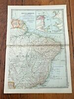 """1903 large colour fold out map titled """" south america - eastern part """""""