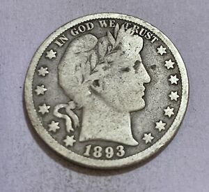 1893-S BARBER HALF DOLLAR - LOW MINTAGE SEMI-KEY, EARLY SAN FRANCISO DATE! RARE
