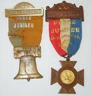 Spanish American War SAW 1898 Peace Jubilee Medals Ribbons Liberty Bell #48Original Period Items - 10952