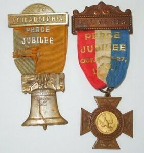 Spanish American War SAW 1898 Peace Jubilee Medals Ribbons Liberty Bell #48