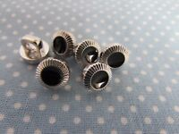 10mm Black and Silver Dress Shirt Button on a Shank in Packs of 2, 5 or 10