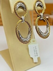 CHARRIOL Silver & Gold Color St Steel Cable Earrings with Diamonds BRAND NEW