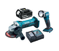 Makita DGA452 18v Angle Grinder, BL1830 Battery and Charger + DML802 Torch