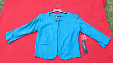 Betty Barclay 100% Cotton Teal/turquoise Sweatshirt Jacket With Elbow Patch