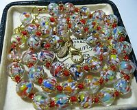 """Rainbow Venetian Murano Glass Speckled Bead Vintage Style 19"""" Long NECKLACE"""