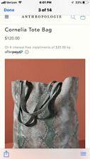 Anthropologie Cornelia Leather Benecio Tote Bag Purse Snake Shiny Print
