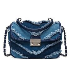 Denim Fringe Chain Strap Satchel Flip Handbag