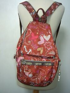Le Sportsac backpack, rust/brown/multicoloured limited edition, Tokidoki charm