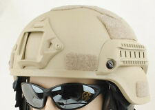 Casque Airsoft Mich avec rails TACTIQUE TAN SABLE de fibre de verre UK