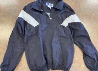 Russell Athletic men black white long sleeve zip up wind breaker jacket size XXL