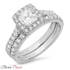 1.60 CT Sim Princess Cut Halo Engagement Bridal Ring band set 14k White Gold