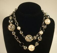 Vintage Rhinestones Disco Ball Beaded Silver Tone Necklace 1980's 1990's