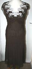 Marks & Spencer Autograph UK12 EU40 brown chiffon silk outer dress - new