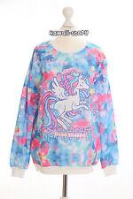 T-509 Unicorn Pony Einhorn blau Sweatshirt Pullover Haraju Fashion Süß Kawaii