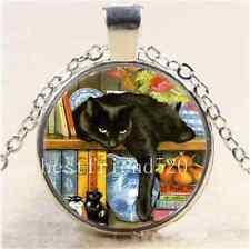 Black Cat In Bookshelf Cabochon Glass Tibet Silver Chain Pendant  Necklace