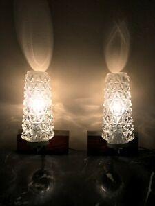 Pair Mid Century 1970´s Teak Chrome Glass Wall Lamp