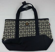 Tommy Hilfiger Sm Tote Ivory Dark Blue Signature TH Beach Weekender Travel NWT