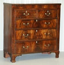 STUNNING GEORGIAN CIRCA 1800 PERIOD PATINA CHEST OF DRAWERS FLAMED MAHOGANY