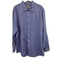 Peter Millar Nanoluxe Mens Dress Shirt Size XXL 2XL Blue Gingham Pocket L/S