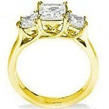 2 carat total 3 Stone Princess cut Diamond Engagement Ring 14k Yellow Gold