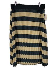 LuLaRoe Skirt Size Large Jill Tan Black Pleated Pull On Elastic Waist NWT L
