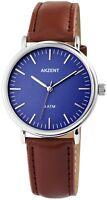 Akzent Herrenuhr Blau Braun Silber Analog Kunst-Leder Armbanduhr X2900052002