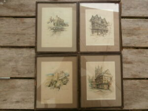 4x Vintage Framed Prints MARJORIE C BATES Conway Harlech Gloucester Ludlow