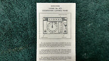 LIONEL # 413 COUNTDOWN CONTROL PANEL INSTRUCTIONS PHOTOCOPY