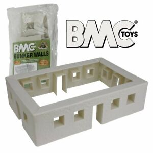 BMC Bunker Walls - White Plastic Soldier Playset Accessory