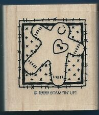 GINGERBREAD MAN Cookie Gift Tag Stampin Up! 1999 Wood Mount Craft RUBBER STAMP