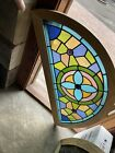 Sg 3699 antique stained glass arch window 23 x 46 Oak Frame