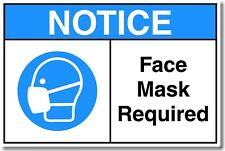 Notice Face Mask Required Sign. Removable & Reusable Glass Windows & Doors