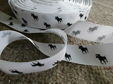 1m grosgrain WHITE 22mm ribbon BLACK polo pony horse use dummy / hair clip