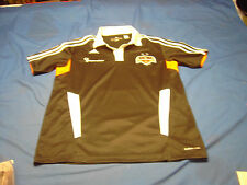 HOUSTON Green Star DYNAMO Adidas Short Sleeve Black Polo Pull Over shirt Size S