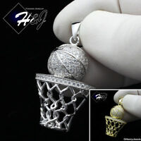 MEN 925 STERLING SILVER ICY DIAMOND GOLD/SILVER BASKETBALL CHARM PENDANT*SP198