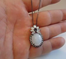 925 STERLING SILVER VINTAGE NECKLACE PENDANT W/  MOONSTONE & LAB DIAMONDS