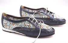 SERENA D'Italia Shoes Knit Silver Blue Handmade Italy Vero Cuoio US 5.5 EU 36.5