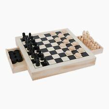 Spiele-Set Schach, Dame & Mühle mit Schubladen